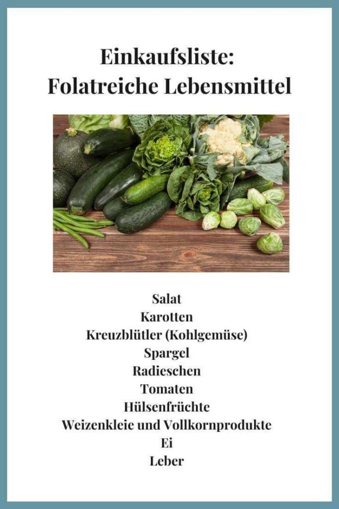 Folsäurehaltige Lebensmittel Einkaufsliste